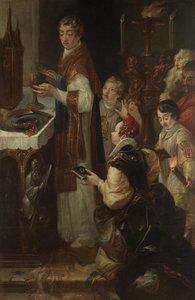 Josef Wickart, Mše sv. Norberta (zázrak s pavoukem), kolem 1721, olej, plátno, Sv. Kopeček, bazilika Navštívení Panny Marie